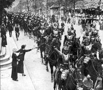 Coraceros franceses marchando hacia Alsacia.
