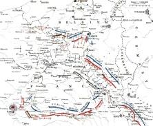 Movimientos de los ejercitos entre el 23 de agosto y el 5 de septiembre.
