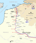 Mapa del Frente Occidental. Aisne, Ypres e Yser.