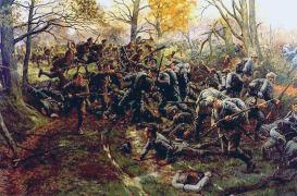 2nd_Ox_&_Bucks,_Nonne_Bosschen,_defeating_the_Prussian_Guard_1914_by_W.B._Wollen